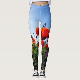 Poppy Field Wildflowers Leggins Leggings