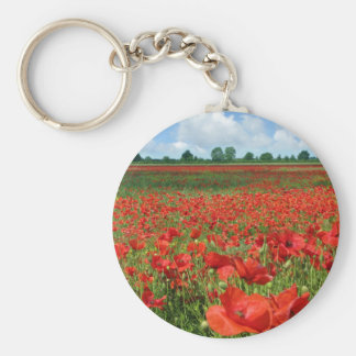 Poppy Fields Basic Round Button Key Ring