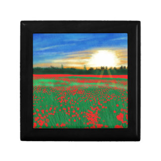 Poppy fields small square gift box