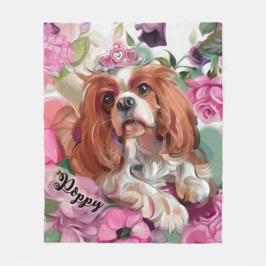 Poppy Fleece Blanket   Cavalier Blenheim   Medium
