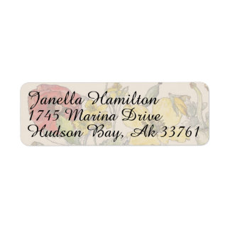 Poppy Floral Flowers Address Labels
