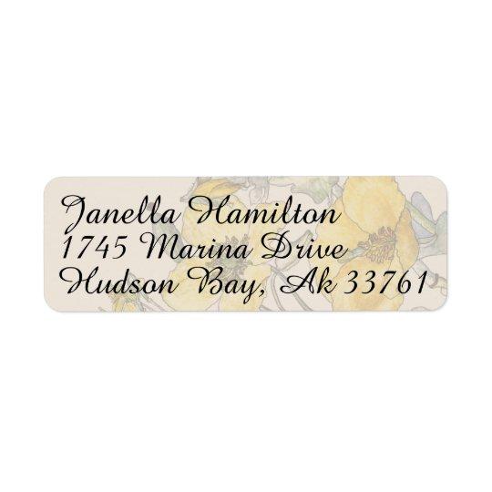 Poppy Floral Flowers Address Labels