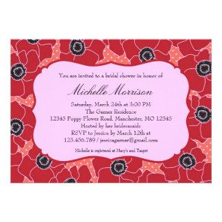 Poppy Flower Bridal Shower Invitation