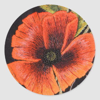 Poppy Flower Classic Round Sticker