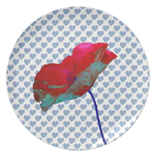 Poppy flower on blue hearts white plate