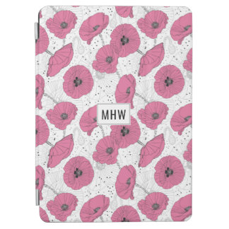 Poppy Flower Pattern custom monogram device covers iPad Air Cover