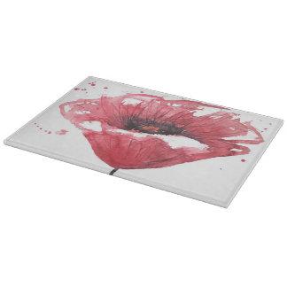 Poppy flower, watercolor cutting board