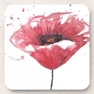 Poppy flower, watercolor drink coasters