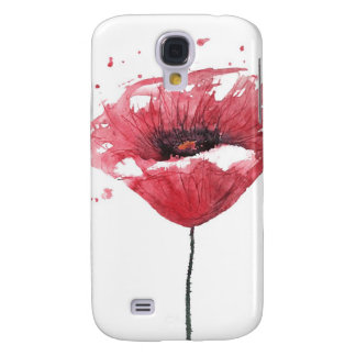 Poppy flower, watercolor galaxy s4 case