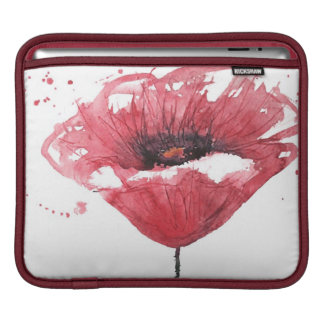 Poppy flower, watercolor iPad sleeve