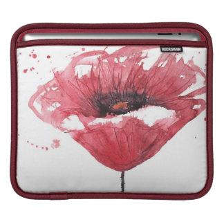 Poppy flower, watercolor iPad sleeves