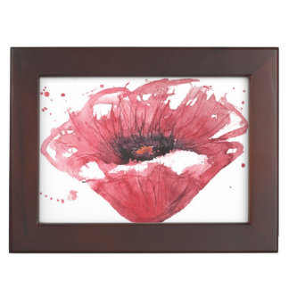 Poppy flower, watercolor memory boxes