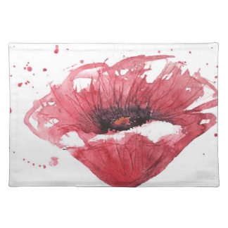 Poppy flower, watercolor placemat