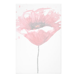 Poppy flower, watercolor stationery