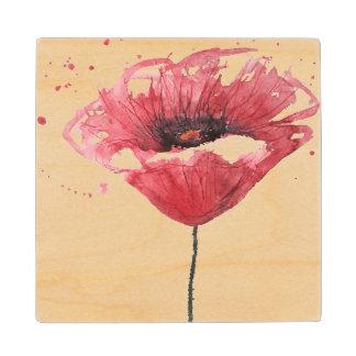 Poppy flower, watercolor wood coaster