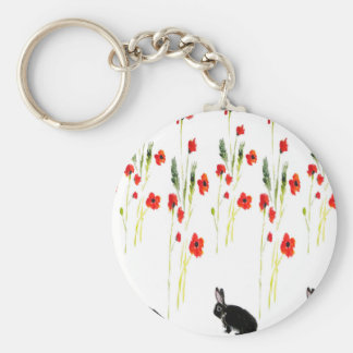 Poppy Flowers and a cute bunny rabbit Basic Round Button Key Ring