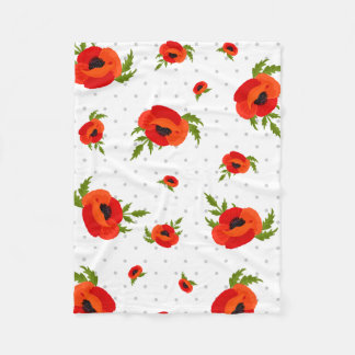 Poppy Flowers and Polka Dots Background Fleece Blanket