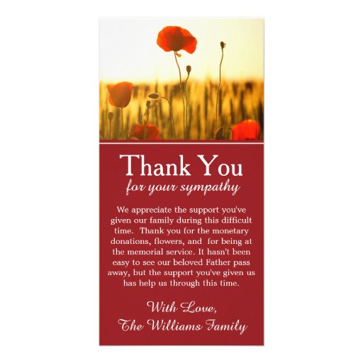 Poppy Flowers Bereavement Memorial Thank You Card Photo Cards