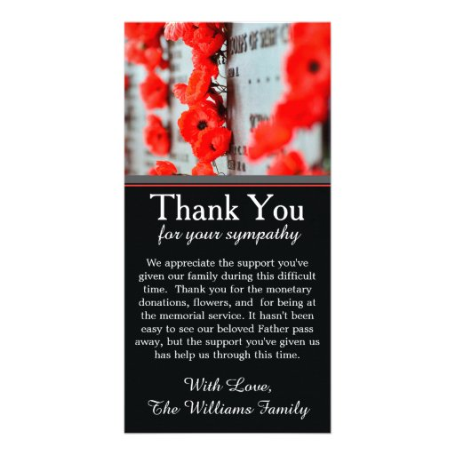 Poppy Flowers Bereavement Memorial Thank You Card Photo Greeting Card