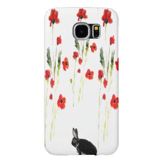 Poppy Flowers Bunny Rabbit Art Samsung Galaxy S6 Cases