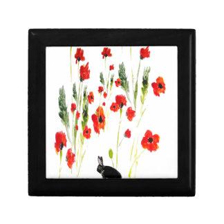 Poppy Flowers Bunny Rabbit Art Small Square Gift Box