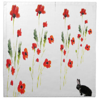 Poppy Flowers Bunny Rabbit Napkin