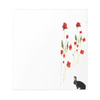 Poppy Flowers Bunny Rabbit Notepad