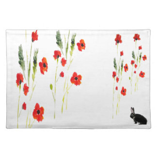 Poppy Flowers Bunny Rabbit poppies Placemat