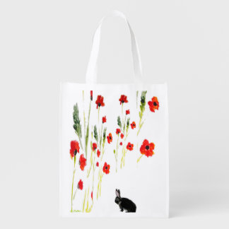 Poppy Flowers Bunny Rabbit Reusable Grocery Bag