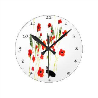 Poppy Flowers Bunny Rabbit Round Clock
