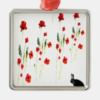 Poppy Flowers Bunny Rabbit Silver-Colored Square Decoration