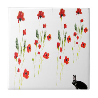 Poppy Flowers Bunny Rabbit Small Square Tile