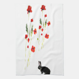 Poppy Flowers Bunny Rabbit Tea Towel