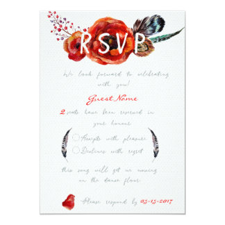 Poppy Flowers Floral RSVP Wedding Invitation