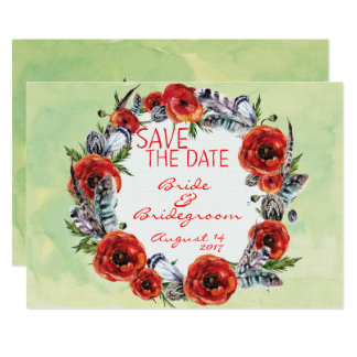 Poppy Flowers Floral Save the Date Wedding Card