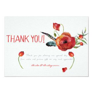 Poppy Flowers Floral Thank You Wedding Card