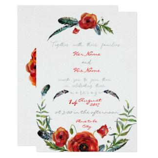 Poppy Flowers Floral Wedding Invitation