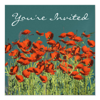 Poppy Flowers Multi Purpose Invitation