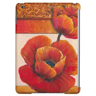 Poppy Flowers on Tan and Orange Background