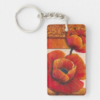 Poppy Flowers on Tan and Orange Background Double-Sided Rectangular Acrylic Key Ring
