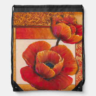 Poppy Flowers on Tan and Orange Background Drawstring Bag