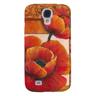 Poppy Flowers on Tan and Orange Background Galaxy S4 Case