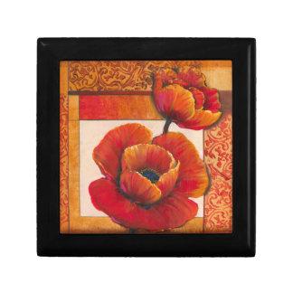 Poppy Flowers on Tan and Orange Background Gift Box
