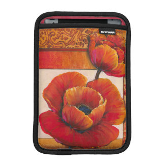 Poppy Flowers on Tan and Orange Background iPad Mini Sleeve