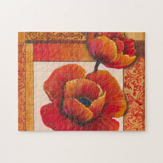 Poppy Flowers on Tan and Orange Background Jigsaw Puzzle