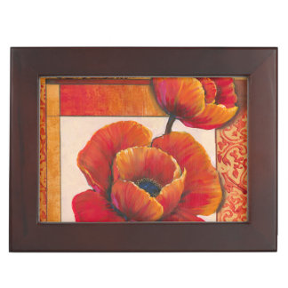 Poppy Flowers on Tan and Orange Background Keepsake Box