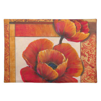 Poppy Flowers on Tan and Orange Background Placemat