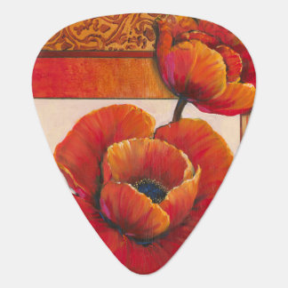 Poppy Flowers on Tan and Orange Background Plectrum