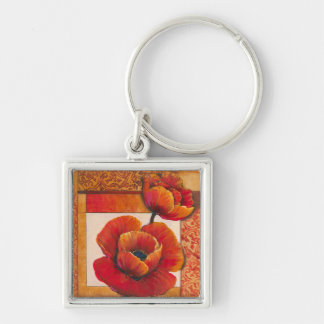 Poppy Flowers on Tan and Orange Background Silver-Colored Square Key Ring