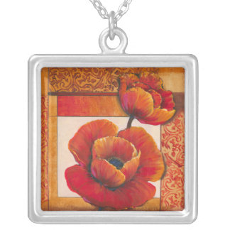 Poppy Flowers on Tan and Orange Background Silver Plated Necklace